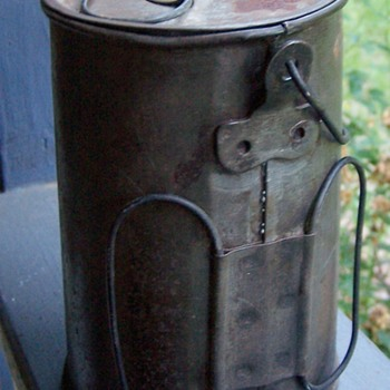 metal military coffee pot or cooking pot with inserted cup