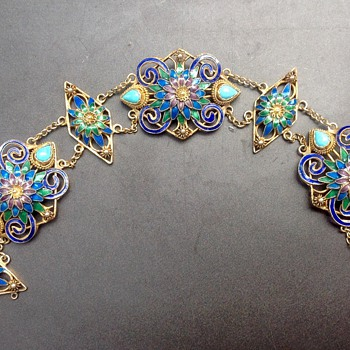 Vintage Chinese Filigree Enamel Vermeil Bracelet - Asian