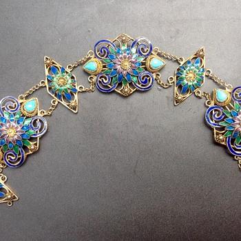 Vintage Chinese Filigree Enamel Vermeil Bracelet