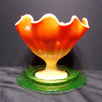 Footed Orange Bowl, Blown