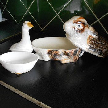 Goose and Rabbit lidded dishes. Butter dish? - Art Pottery