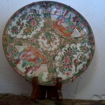 "Asian Plates,set 6,8"",Old, Painted, with gilt, Domestic Scenes, Birds,little different"