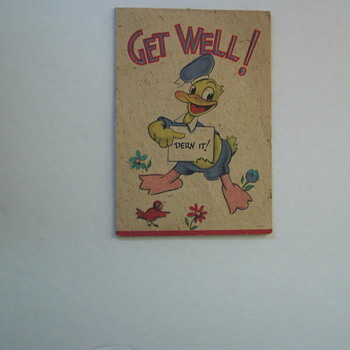 "1942 WW2 Era, Donald Duck ""GET WELL CARD""--OUTSIDE & INSIDE, AMAZING CONDITION - Cards"