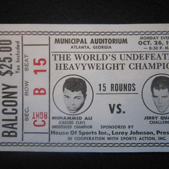 October 26th 1970 Original Muhammed Ali Cassius Clay vs. Jerry Quarry Boxing Event Ticket Stub - Paper