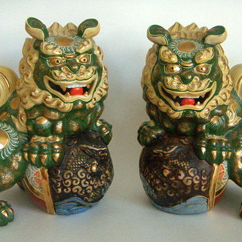 Foo Dogs, Ceramic, marks?