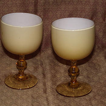 Amber and White Cased Glass Cordials by Carlo Moretti 1950's