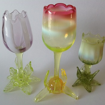 Victorian glass tulip vases by Richardson - Art Glass