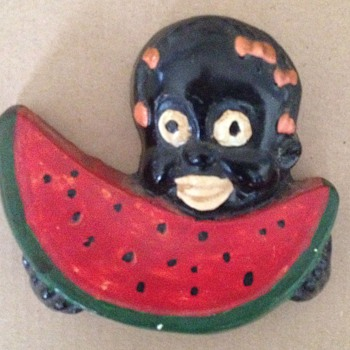 Chalkware or Plaster Black Americana  Girl Holding  Watermelon