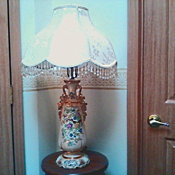 Beautiful Hand Painted Oriental Floral Lamp with Gold Accents / Circa 1940's