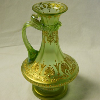 Early Loetz,Commissioned by Max Emanuel, Olympia Enamel Ewer Vase Series 1 PN 6649,C 1890-98 - Art Glass