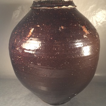 Amazing old glazed brown black Chinese stoneware vase