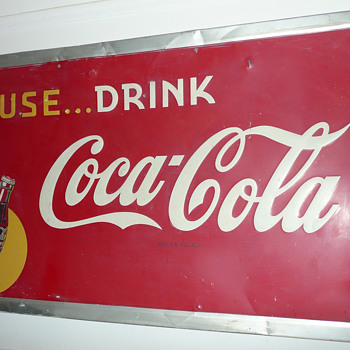 Coca Cola Sign Large Tin 1947