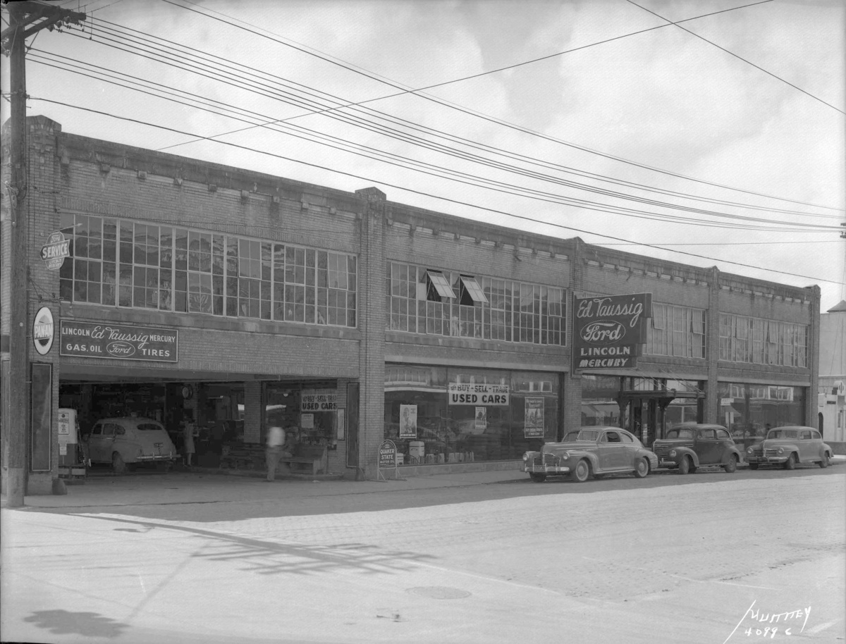 1948 ed taussig ford dealership sign lake charles la collectors weekly. Black Bedroom Furniture Sets. Home Design Ideas