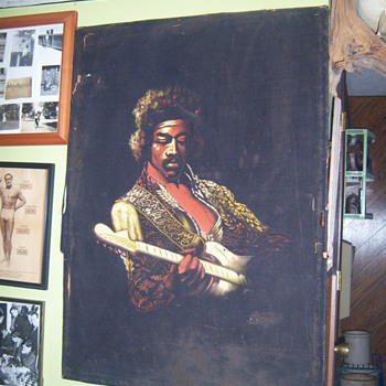 jimi hendrix moterey pop fest black velvet painting - Folk Art