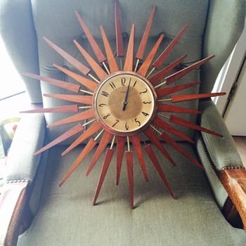 Teak mid century modern sunburst clock - Clocks