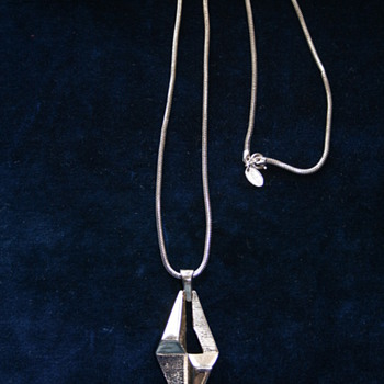 Silvertone Geometric Industrial shape Pendant by Vendome - Costume Jewelry