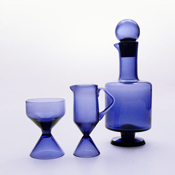 Decanter and creamer+sugar bowl set, Tamara Aladin (Riihimäki, 1960s) - Art Glass