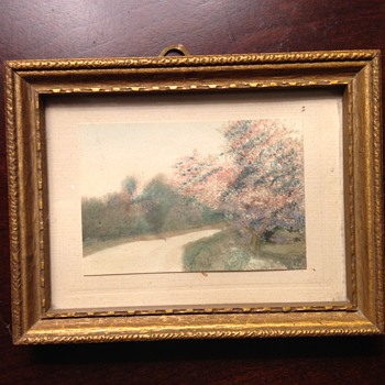 Vintage Small Scale Framed Landscape Painting - Folk Art Unsolved Mystery - Visual Art