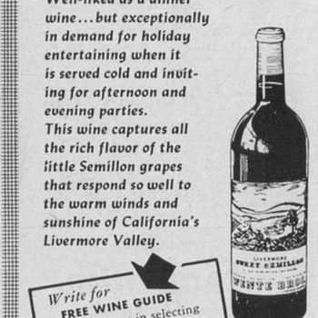 1953/54 Wente Bros. Wine Advertisement - Advertising