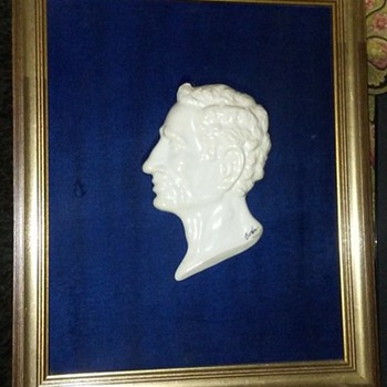Porcelain Caesar Augustus Profile Bust Mounted in Original Frame by Boehm
