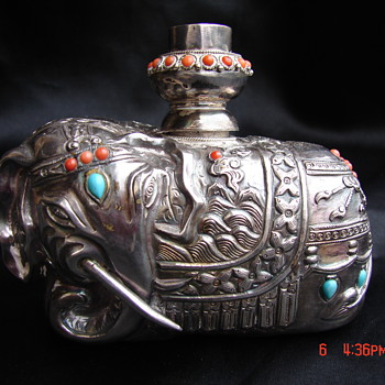 Antique Silver Asian Siam Elephant Lamp Candleholder IDK What It Is - Asian