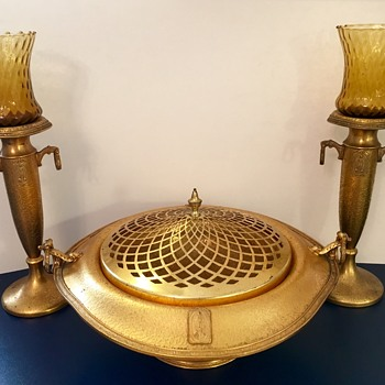 Farber Brothers ART DECO Centerpiece and Candlesticks