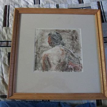 Clyde Singer  (Signed) Mono Print - Woman with Red Face - Framed and Matted