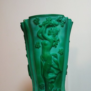 Bohemian Malachite glass vase c1930