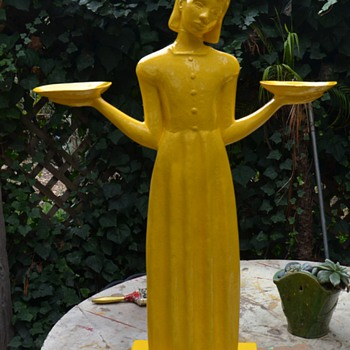 Large Resin Garden Statue in Beautiful Yellow Paint - Art Deco