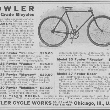 1902 Fowler Bicycle Advertisement - Advertising