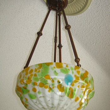 Czechoslovakia Mottled glass Shade Art Deco Ruckl or ?