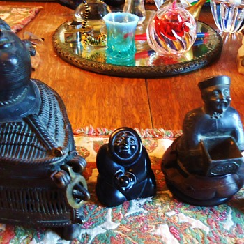 Four statues  Wood, Metal, and Stone from around the world, sold together!  LOOKING UP!! - Asian