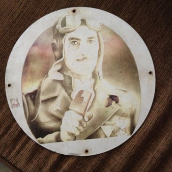 Vintage Tin with Pilot holding Ice Cream - Signs
