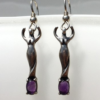 Goddess Figure Amethyst Sterling Silver Earrings - Fine Jewelry
