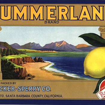 Summerland lemon crate label Montecito Santa Barbara 1930s - Advertising