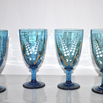 Moser? Bohemian Turquoise Glass Goblets w/Painted Lily of the Valley