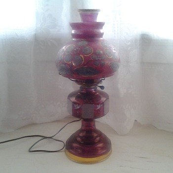 cranberry electrified kerosene lamp