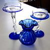 "1960s 1970s Cobalt Vase ""Snowflakes"""