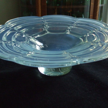 Light Blue OPALESCENT Bowl- Drapery Design- Who Made This? - Art Glass