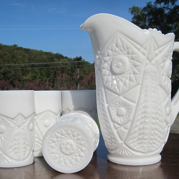 Pressed Milk Glass Pitcher and tumblers - Glassware