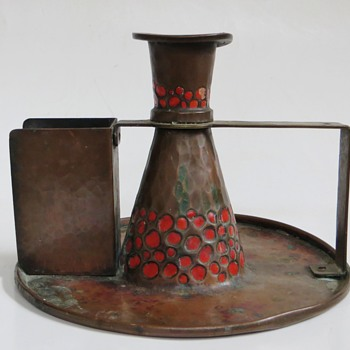 Arts & Crafts Hammered Copper Candlestick w/Enamel~Matchbox Holder, Old
