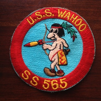 Vintage USS Wahoo SS 565 USN Indian Patch - Military and Wartime