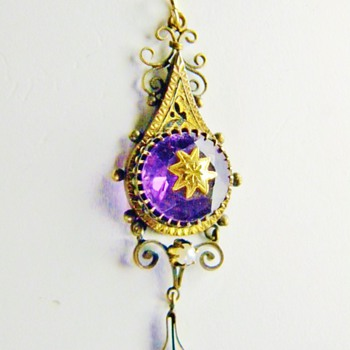 Antique Victorian Amethyst Pearl Enamel Mourning Pendant Lavaliere 12k