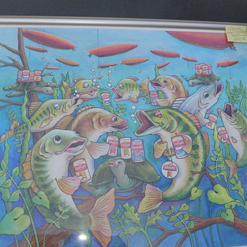 "Schmidt's beer ""Drink like a fish"" original artwork - Breweriana"