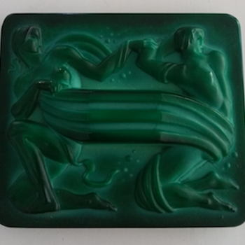 Czech Malachite green Glass Plaque - Art Deco