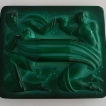 Czech Malachite green Glass Plaque