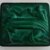 Czech Malachite green Glass Plaque