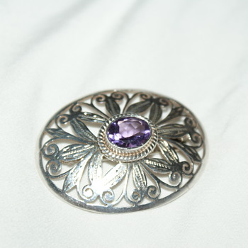 Pretty Sterling Brooch with Purple Stone