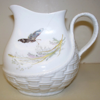 Haviland  H&amp;Co Basketweave Osier Handpainted Pitcher / Creamer --Please date