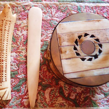 Eskimo Walrus Ivory box, cribbage bd., and knife or?  How old?